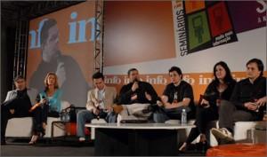 blogueiros no palco: Reinaldo Azevedo, eu, Edney, Cardoso, Merigo, Bia Kunze e Manoel Lemos. Mediador: Juliano Barreto