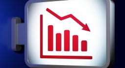 News concept: Decline Graph on advertising billboard