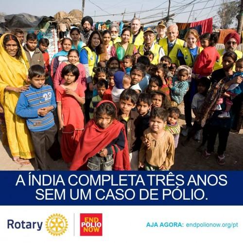 India completa 3 anos sem um caso de pólio